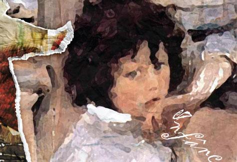Arte inspirada na obra Crianças, de Valentin Serov, mostra imagem de criança