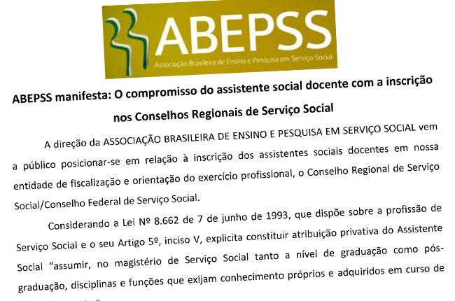 Imagem reproduzindo a nota da ABEPSS