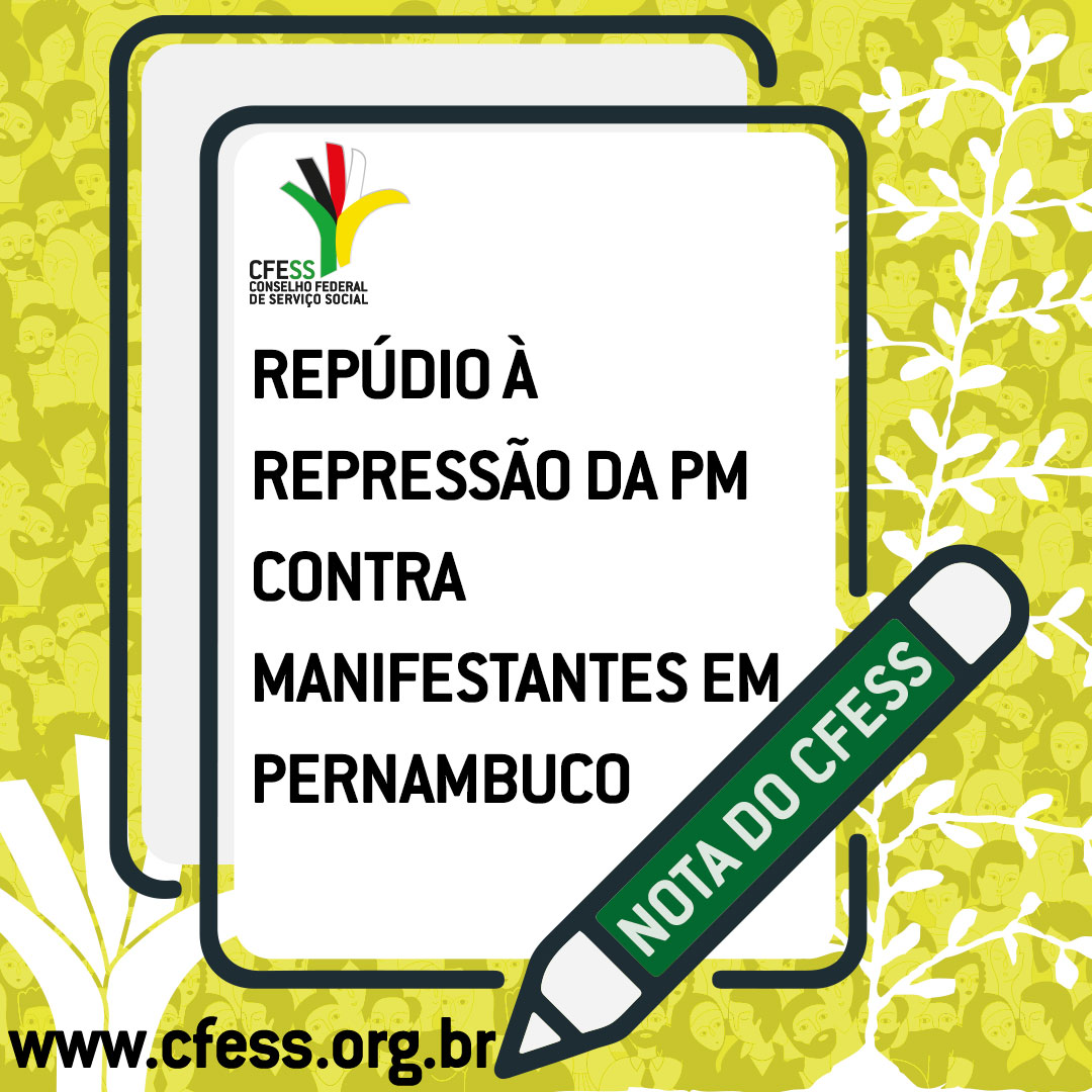 Imagem mostra uma folha de papel sobre um fundo amarelo. O documento tem a marca do CFESS e o título da nota. Sobre ela desenho de uma caneta.