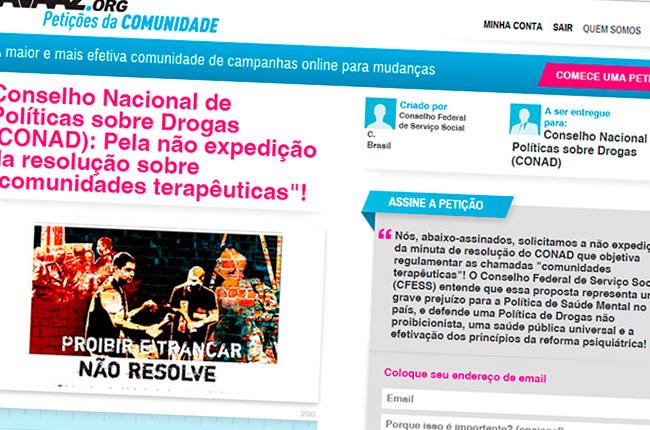 Recorte da imagem da petição pública lançada pelo CFESS