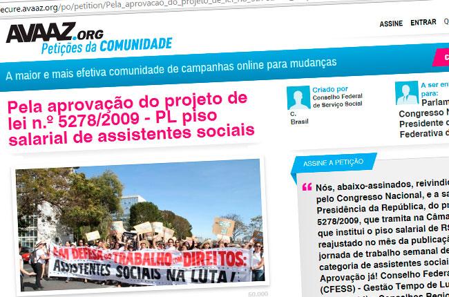 Recorte do site do abaixo-assinado em defesa do PL do piso salarial