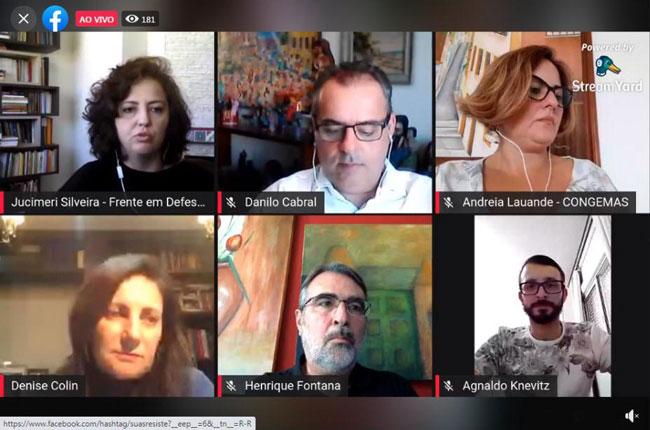 Print da reunião on-line em defesa do projeto de lei 4292, mostrando o rosto dos participantes em destaque.