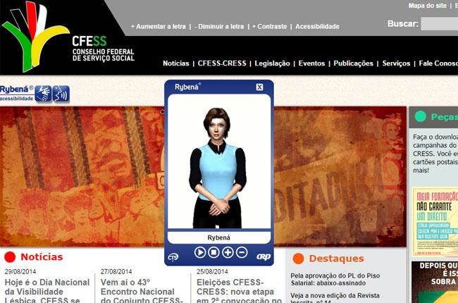 Imagem da nova ferramenta de tradução para libras no site do CFESS