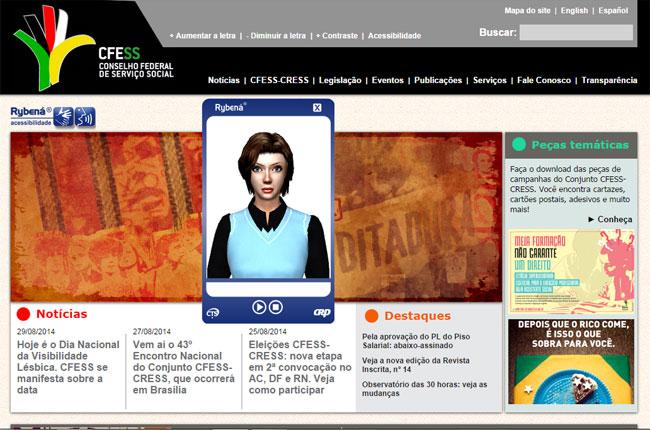 Imagem do site do CFESS com a nova ferramenta de acessibilidade em destaque, ao centro