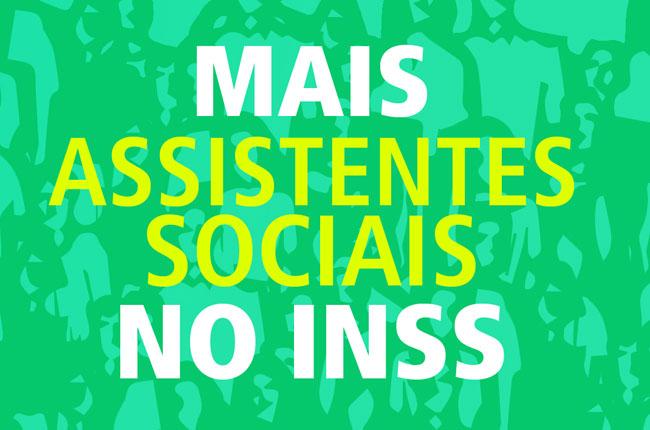 Arte do painel instalado em Brasília para reivindicar mais nomeações de assistentes sociais no concurso do INSS de 2008