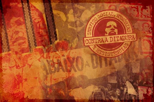 Ilustração reúne recortes de imagens do período da ditadura e o selo Serviço Social, memórias e resistências contra a ditadura militar